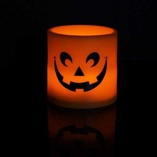 Micandle Set of 6 Plastic Flameless Flickering Amber LED Pillar Candles with Grimace on Surface, Powered by 3AAA Batteries Lasting 120+Hrs, Perfect for Thanksgiving,Halloween,X-Mas,Home -