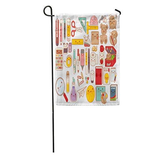 - Semtomn Garden Flag Collection of Lovely Baby Stationery Character Doodle Cute Pencil Adorable Home Yard House Decor Barnner Outdoor Stand 28x40 Inches Flag