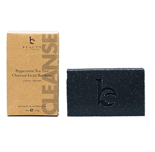 Charcoal Face Wash Bar Soap - Organic Peppermint Tea Tree Antibacterial Soap Bar Facial Cleanser for Oily Skin, Acne Cleanser, Natural Soap, Black Soap Face Cleanser, Acne Face Wash, Women & Mens Face ()