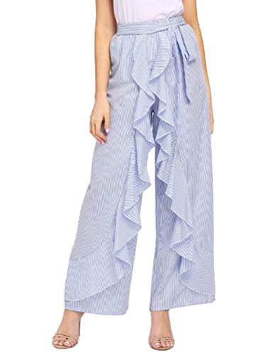 Jessica CC Women's Solid Ruffle Wide Leg High Waist Loose Palazzo Skirt Pants (Small, Blue White)