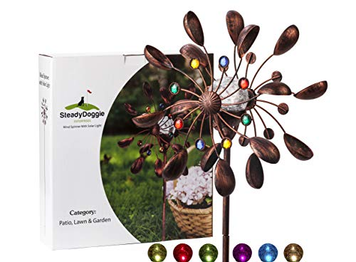 Garden Wind Spinner Yard Windmill Multi Color Kinetic Solar