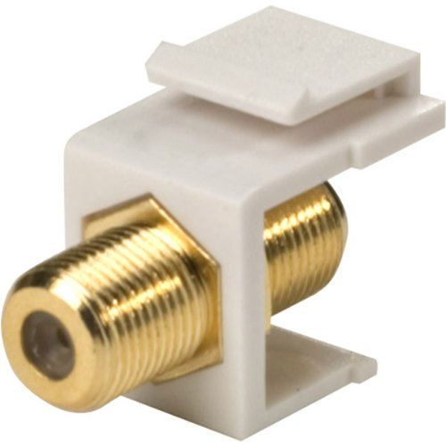 - White Single F To F Gold Keystone Insert - Gold Plated Contacts - 10-Pack Electronics & computer accessories