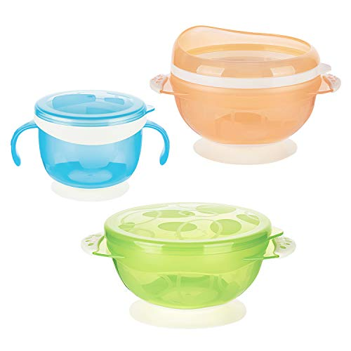 Zooawa Baby Suction Bowls and Snack Catcher, 3-Pack Nonslip Spill Proof Feeding Bowls Training Utensils for Infant Toddler, BPA-Free