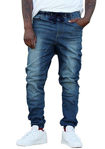 REVOL MEN'S TWILL / DENIM DROP CROTCH HAREM JOGGER PANTS, XXX-Large SG001-DK INDIGO