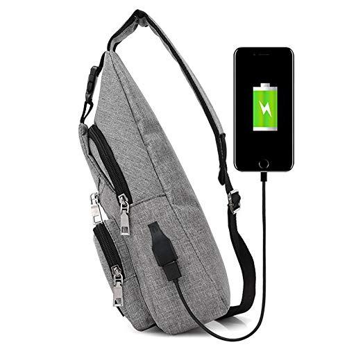 Casual Purple Bag Shoulder Crossbody Backpack Unbalance Canvas Outdoor Sports Grey JESPER Usb Sling vPqvt