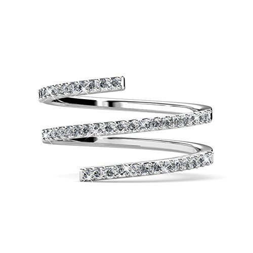 BlackGift Swarovski Element Double Row Twisted Sterling Silver - Twisted Wedding Ring