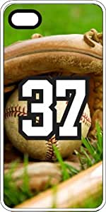 Baseball Sports Fan Player Number 37 White Plastic Decorative iPhone 6 PLUS Case