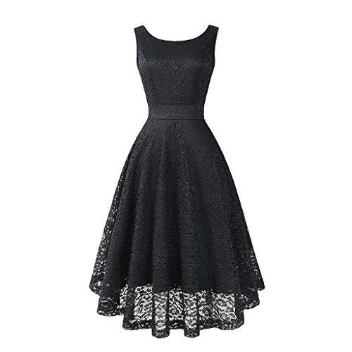 Rakkiss Women Vintage Skirt Solid Lace Spring Hepburn Skirt Cocktail A-Line Dress Elegant Exquisite Midi Dress Black