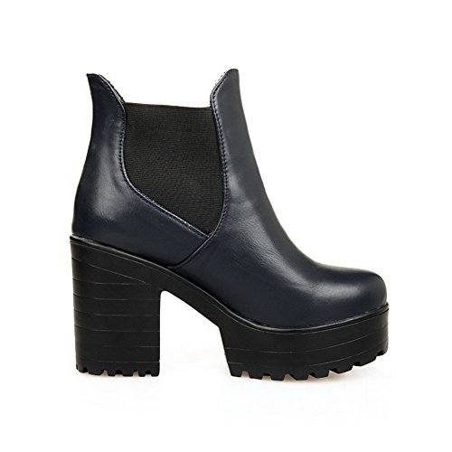 AgooLar Damen Ziehen auf Hoher Absatz PU Eingelegt Niedrig-Spitze Stiefel Blau