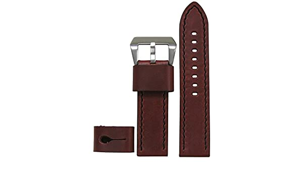23911df3bc9d Amazon.com  26mm Panatime Explorer Collection Vintage Brandy Genuine Calf  Leather Watch Band with Black Stitching 125 75 26 26  Watches