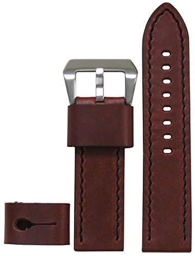 - 24mm XXL Panatime Explorer Collection Vintage Brandy Genuine Calf Leather Watch Band with Black Stitching 24/24