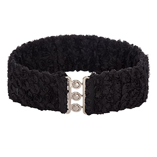 Women's Wide Lace Belts Stretchy Waistband Corset Belts Black Size L CL758-1 by Belle Accessories