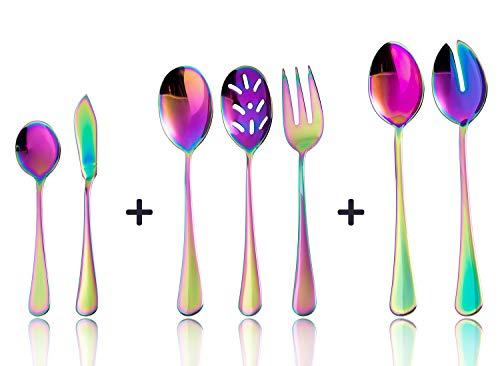 Color rainbow Serving utensils set. Stainless Steel Hostess Flatware Sets 7-Piece Includes Silverware Large Salad Serving Spoons, Forks & Slotted Spoons,sugar spoons,butter knife.Dishwasher Safe