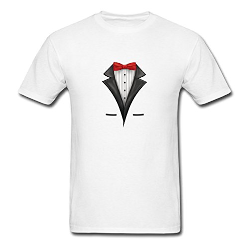 Renting Tuxedo Costume t Shirt For Men Cute Cotton Tee Short Sleeve Size L White
