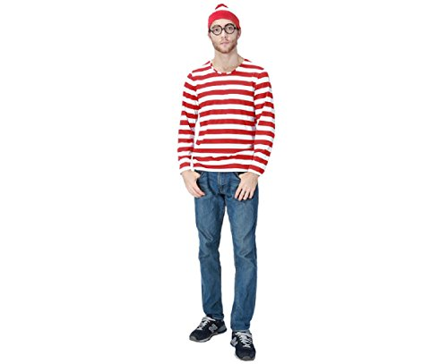 Adkinly Mens Wheres Waldo/Wally Adult Costume Kit, Red/White, (Wheres Wally Costume)