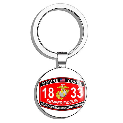 HJ Media Assault Amphibious Vehicle (AAV) Crewman Marine Corps MOS 1833 USMC US Marine Corps Military Stainless Steel Round Metal Key Chain Keychain Ring