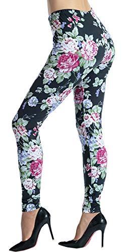 (Ndoobiy Women's Printed Leggings Full-Length Regular Size Workout Legging Pants Soft Capri L1(Black Rose OS))