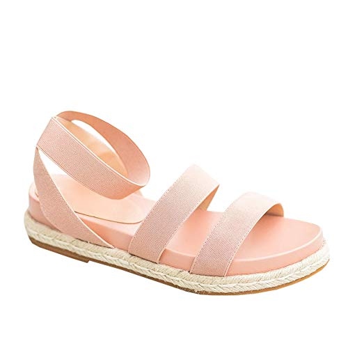 FISACE Womens Summer Espadrille Donddi Elastic Band Flat Sandal Open Toe Double Strap Dressy Shoes