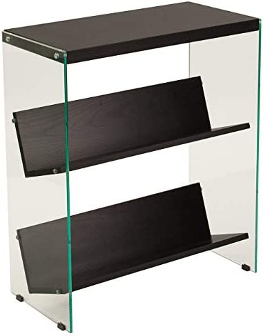 Flash Furniture Highwood Collection 3 Shelf 28 H Glass Frame Bookcase in Dark Ash Finish