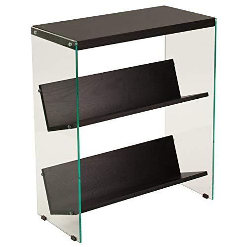 Flash Furniture Highwood Collection Dark Ash Wood Grain Finish Bookshelf with Glass Frame