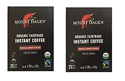 Mount Hagen -REGULAR Organic Instant Coffee Freeze Dried 25 Single Serve Packets- 1.76 Oz Each, (Pack of 2)