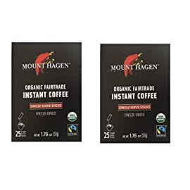 Mount Hagen -REGULAR Organic Instant Coffee Freeze Dried 25 Single Serve Packets- 1.76 Oz Each, (Pack of 2)