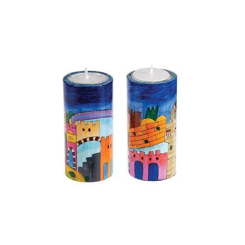 Yair Emanuel Round Shabbat Candlesticks with Jerusalem Depictions