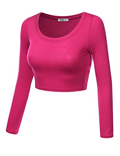 J.TOMSON Women's Basic Solid Color Stretchy Slim Fit Long-sleeve Crop Top FUSCHIA S