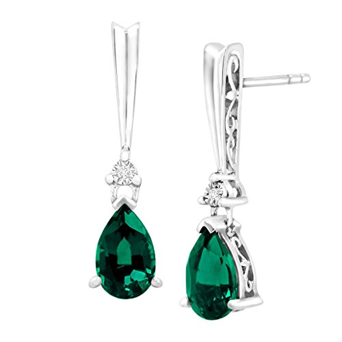 1 3/4 ct Created Emerald Drop Earrings with Diamonds in Sterling Silver