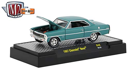 M2 Machines 1967 Chevrolet Nova (Emerald Turquoise Metallic) - Detroit Muscle Release 48 Castline 2019 Premium Edition 1:64 Scale Die-Cast Vehicle & Custom Display Base (R48 19-23) ()