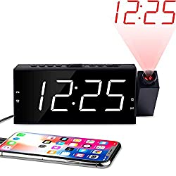 ONLYEE Projection Ceiling Wall Clock, Alarm Clock, 7 LED Digital Desk/Shelf Clock with Dimmer, USB Charging, AC Powered and Battery Backup for Bedroom, Kitchen, Kids