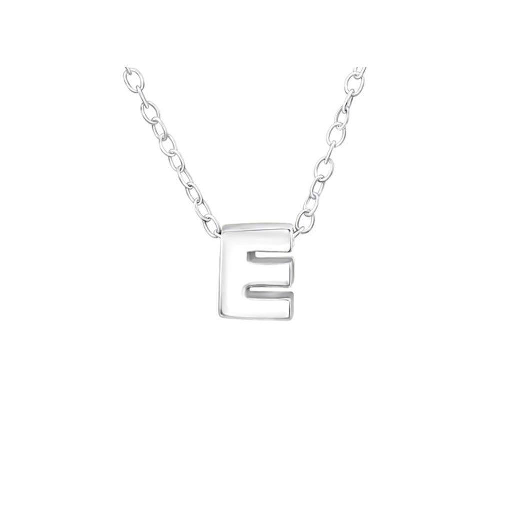 Silver E Plain Necklace Liara Polished and Nickel Free