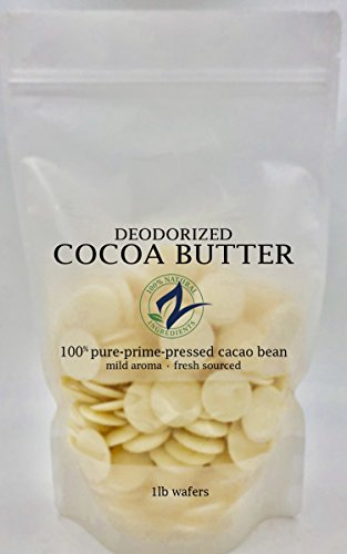 RAW Cocoa Butter-Deodorized_Food Grade | 100% Pure-Prime-Pressed | DIY Lotions, Stretch Marks, Lips. (16 Ounce Deodorized Wafers)