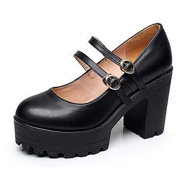 ggx Más Negro Y Tacones Primavera Lvyuan Tacón Black Mujer Cms Formales 12 Robusto Zapatos Cuero Otoño Casual Fqwxp4dx
