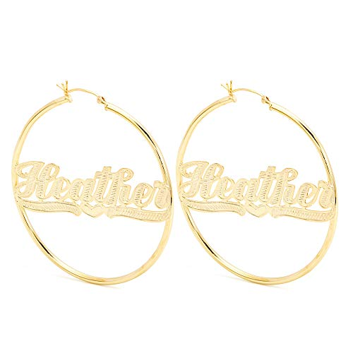Large Classic Style Script Name Earrings