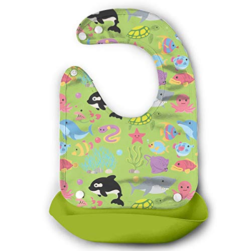 Benunit Sea Creature Animal Clipart Unisex Silicone Baby Bibs For Babies Toddlers Free Pouch Wipes Clean Easily -