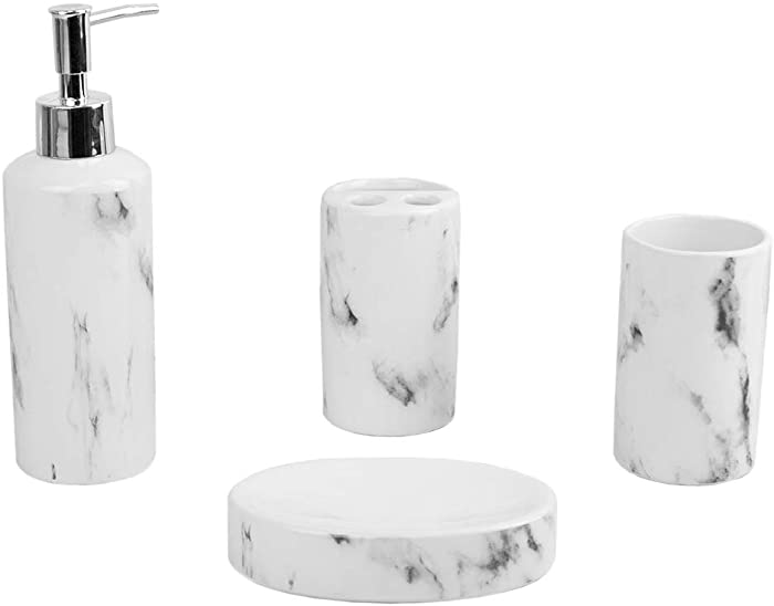 Home Basics Marble Design Look, Ceramic 4-Piece Durable Bath Accessory Set, includes Lotion Dispenser, Soap Dish, Tumbler, Toothbrush Holder