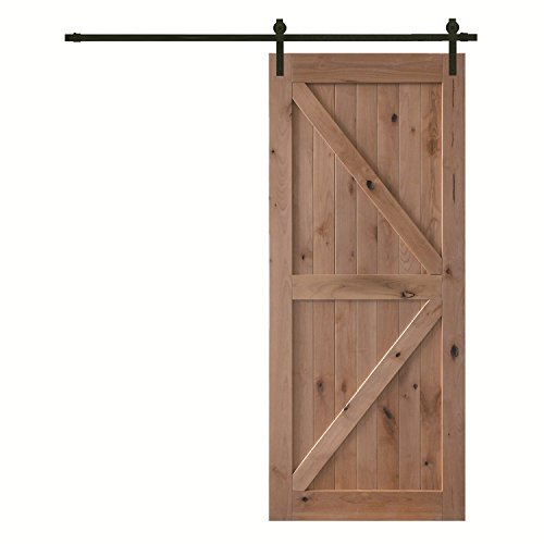 YASEN Interior Barn Doors For Home-Knotty Alder Folding Bypass Finished Door with Sliding Hardware - 36/42inchx84inch -Knotty Alder K Style