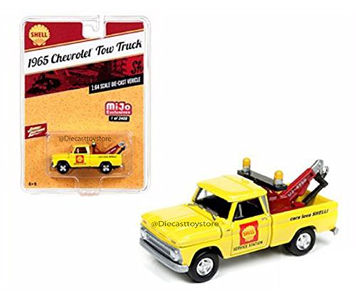 (JOHNNY LIGHTNING 1:64 MIJO EXCLUSIVES - SHELL - 1965 CHEVROLET TOW TRUCK YELLOW DIECAST TOY CAR)