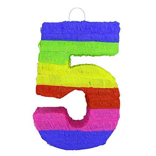 LYTIO Number 5 Pinata Vibrant Multi Colored Paper Handmade Piñata Great for Any Birthday or Anniversary Party, Décor, Photo Prop, Center Piece (Five) -