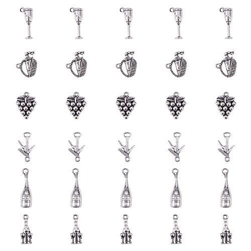 PH PandaHall 30pcs 6 Styles Tibetan Alloy Antique Silver Wine Theme Pendants Charms for DIY Necklace Bracelet Making