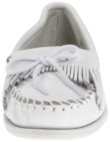 Minnetonka Kitty Unbeaded Femmes Blanc Cuir Chaussures Mocassins EU 37