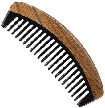 Mt Buffalo (Myhsmooth Gb-by-mt Handmade Premium Quality Natural Green Sandalwood Wide Tooth Comb with Natural Wood Aromatic Smell (Wide-tooth, Black Buffalo Horn & Green Sandal Wood, Moon Gift))