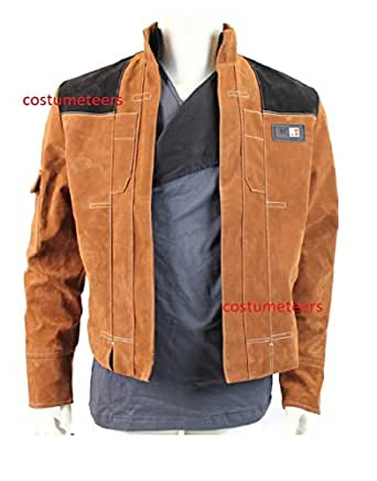 Star Wars Han Solo Story Premium Faux Suede Brown Jacket Costume (S)