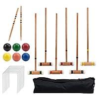 Juego de croquet de lujo para seis jugadores con mazos de madera, bolas de colores y una bolsa de transporte resistente - Juego clásico de patio al aire libre por Crown Sporting Goods