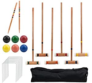Six-Player Deluxe Croquet Set with Wooden Mallets, Colored Balls, & Sturdy Carrying Bag - Classic Outdoor Yard Game by Crown Sporting Goods