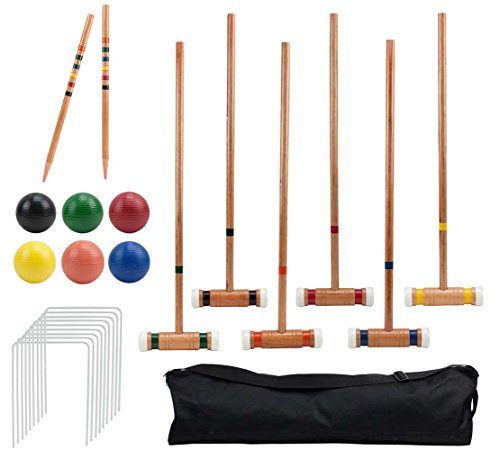 Crown Sporting Goods Six-Player Deluxe Croquet Set | Classic Wooden Mallets, Colored Balls, Wickets, Stakes, Sturdy Carrying Bag | Outdoor Yard and Lawn Game for Kids and Adults
