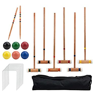 Crown Sporting Goods Six Player Deluxe Croquet Set with Sturdy Black Carrying Bag