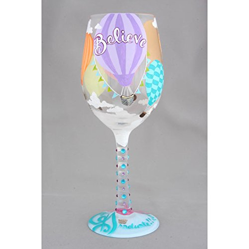 Enesco 4057885 Wine Glass Reach for The Sky, Multicolor (Glass Air Hot Balloon)