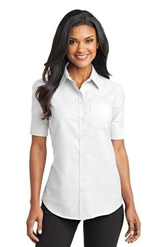port-authority-ladies-short-sleeve-superprotm-oxford-shirt-white-small
